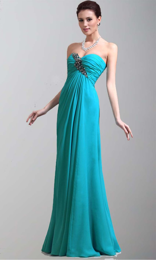 aqua dress long prom dress long formal dress sweetheart dress empire waist dress ruched dress