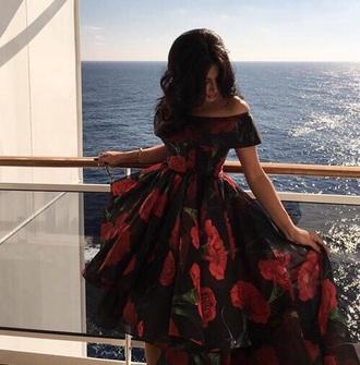 dress black red flowers roses off the shoulder