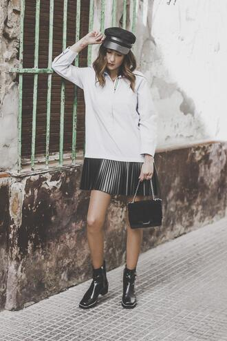 shoes and basics blogger shoes shirt pleated skirt fisherman cap boots black bag spring outfits