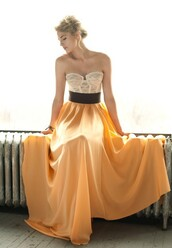 dress,skirt,top,prom dress,prom,bustier dress,yellow,dress black belt lace top