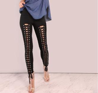pants black lace up girl girly girly wishlist black pants tie up