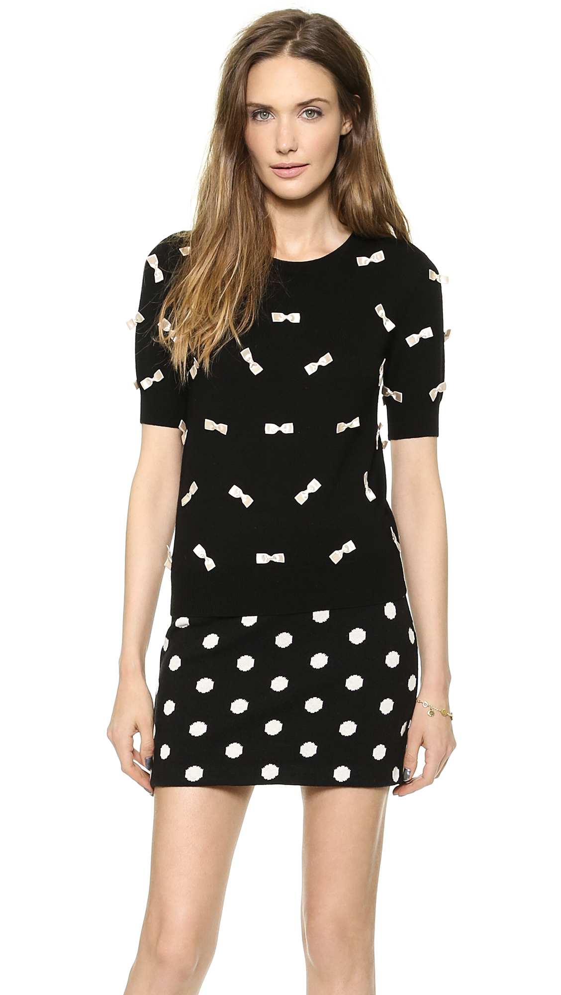 Alice   olivia all over bow sweater