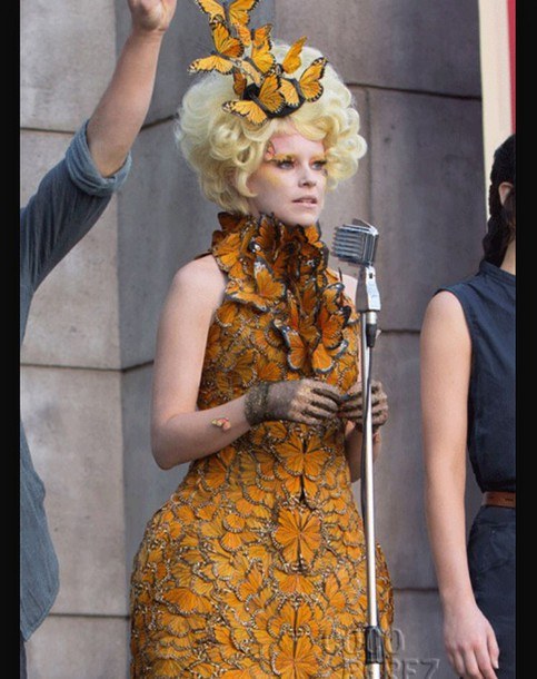 dress hunger games catching fire butterfly the hunger games effie elizabeth banks orange dress costume costume party halloween costume