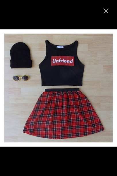 top flannel shades sunglasses beanie hat crop tops skirt high waisted skirt friends bitch