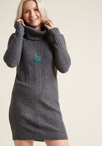 MCD1424 dress sweater dress grey sweater dress long cozy knit grey