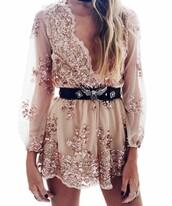 dress,romper,long sleeve romper,embellished dress,gold dress,nude dress,sparkly dress