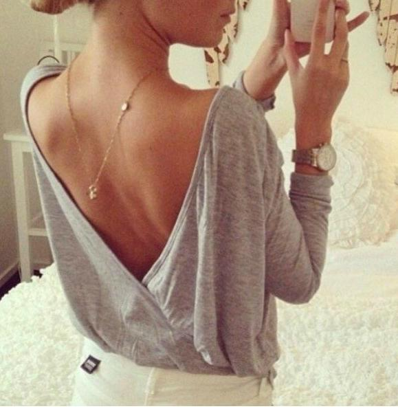 Fashion long sleeve back v design shirt / fanewant