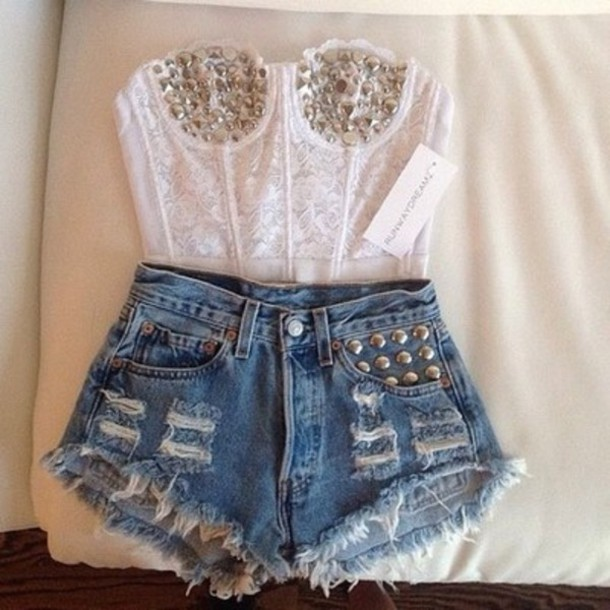 shorts clothes studs tank top shirt crop tops bandeau white gold summer lace corset white lace shirt shorts high waisted top strapless outfit crop tops High waisted shorts studded shorts cardigan