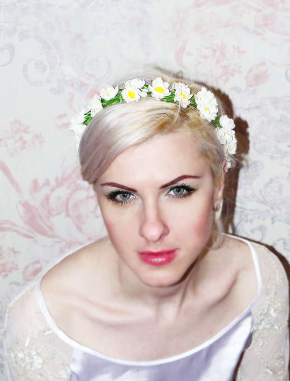 Floral Wedding Headpiece Bridal Hair Acessories Chamomile Bridal