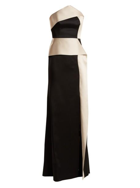 Roland Mouret gown satin black cream dress