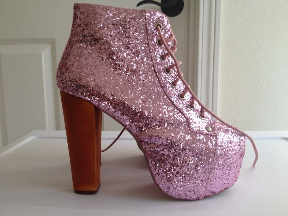 BNIB Jeffrey Campbell Lita Pink Glitter 7 5 | eBay