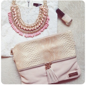 baby pink white cute jewels necklace bag gold gold necklace pink jewels girly h&m little bag handbag reptile reptile skin statement necklace