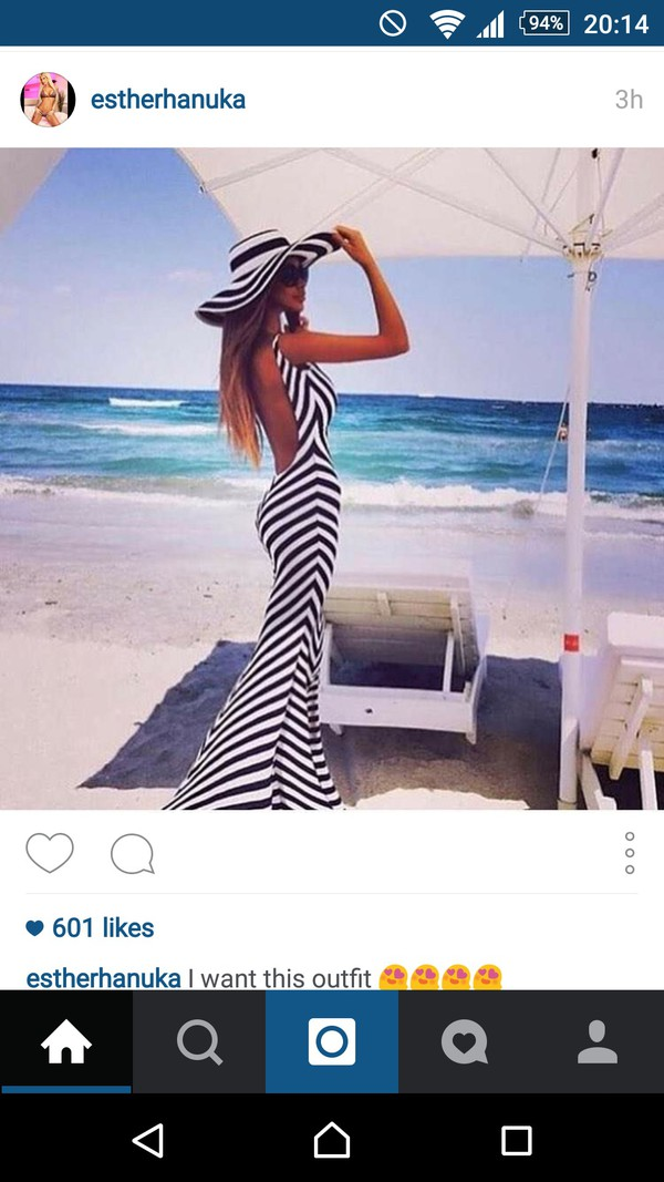 Black and white striped maxi dress with low back