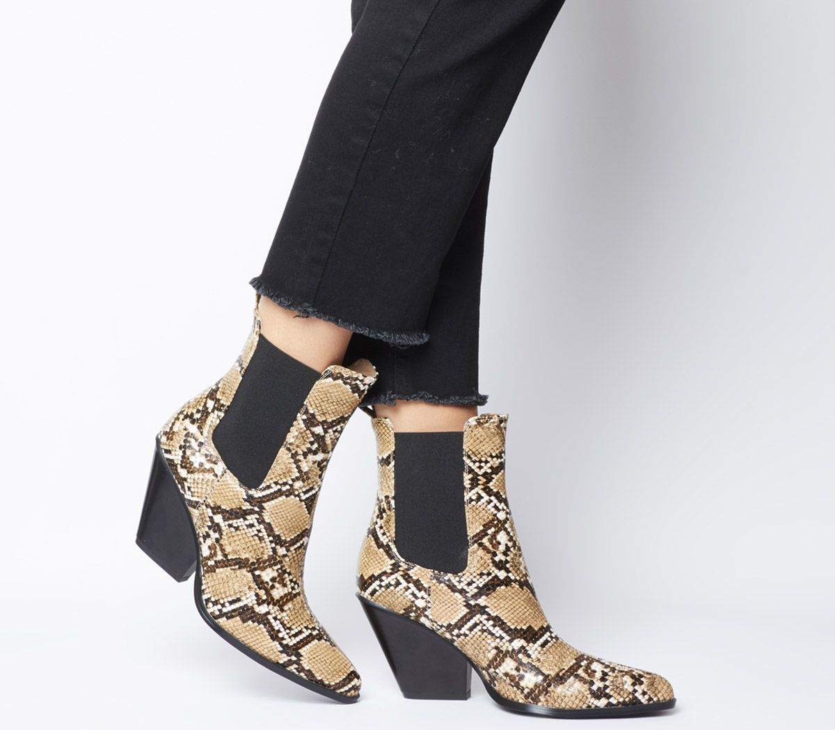 Ego Camille Heeled Chelsea Boots Nude Snake - Animal Print