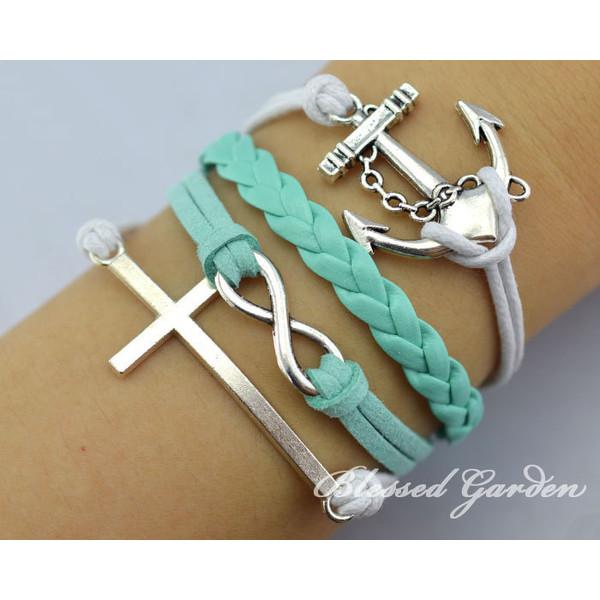 anchor bracelet,Infinity bracelet, cross bracelet, infinity... - Polyvore