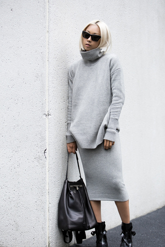 the haute pursuit blogger sunglasses grey turtleneck midi skirt pencil skirt knitwear leather bag black boots grey sweater