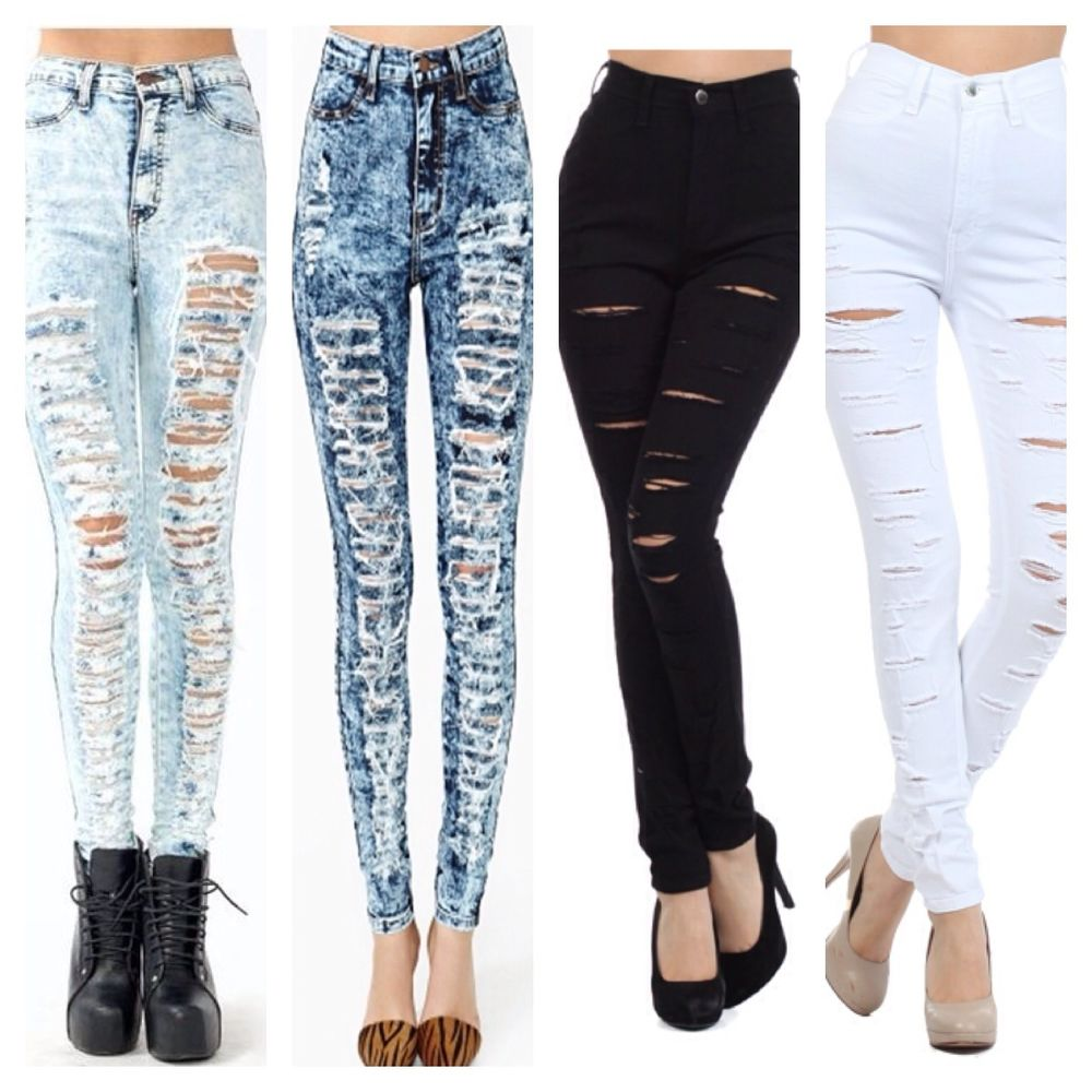 Light Acid Wash High Waisted Jeans
