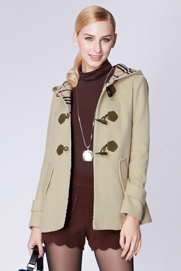 Puff Sleeves Hooded Toggle Coat [FEBK0465]- US$ 63.99 - PersunMall.com