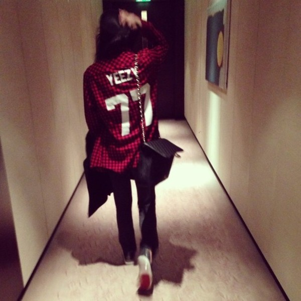 blouse yeezy burgundy white 77 number tee number shirt plaid red yeezus jacket