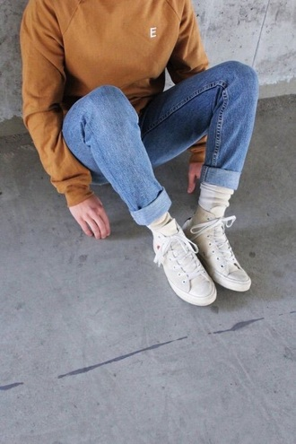 sweater jumper jeans vintage yellow basic back to school rust white sneakers high top sneakers yellow sweater boyfriend jeans oversized sweater blue jeans light blue jeans cuffed jeans mustard sweater shirt crewneck crewneck sweater sweatshirt shoes