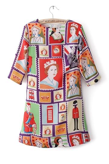 Vintage Stamp Printing Dress [FXBI00309]- US$ 23.39 - PersunMall.com