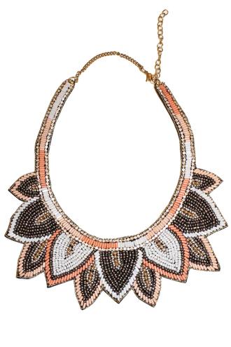 jewels lotus gray peach statement beaded statement necklace under 20 boutique boutique culture big necklace zara blogger