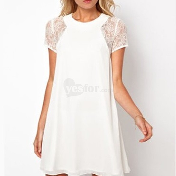 Woman Chiffon Mini Dress Split Back Swing Lace Sheer Insert Short Sleeve , unit price of $11.62 only - Yesfor.com