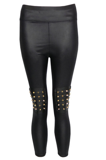 Paisley Wet Look Legging with Spike Knee Pads - Pop Couture