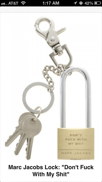jewels marc jacobs lock keys padlock necklace keychain don't fuck with my shit