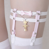tights,bunny,chariie barker,chain,cute,sweet,kawaii,suspenders,pastel,pale,pink,white,bows,overknee socks,jfashion,kfashion,japanese fashion,korean fashion,soft grunge,grunge,joanna kuchta,tumblr,weheartit,fashion,sexy,belt,hold ups,jewels,gold bunny,garter,thigh garter,garter belt