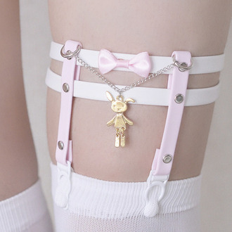 tights bunny chariie barker chain cute sweet kawaii suspenders pastel pale pink white bows overknee socks jfashion kfashion japanese fashion korean fashion soft grunge grunge joanna kuchta tumblr weheartit fashion sexy belt hold ups jewels gold bunny garter thigh garter garter belt