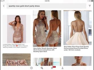 dress sparkly short rose gold  party dressss