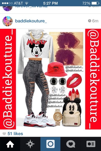 sweatshirt wardrobe high waisted jeans ripped jeans mickey mouse curly hair polyvore crop tops gold chain red black grey white cute ootd bag shoes jewels jacket