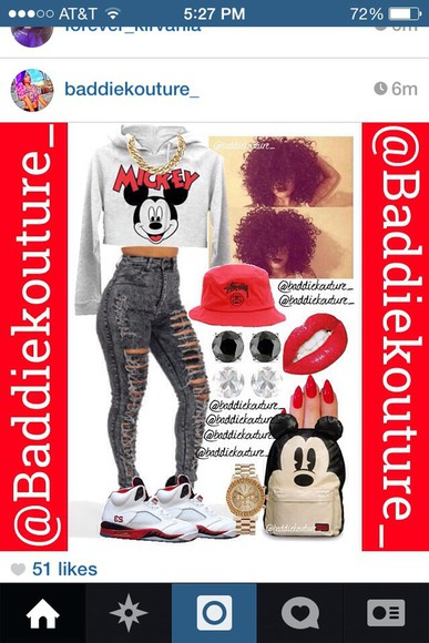 jacket bag shoes distressed jeans sweater wardrobe high waisted jeans mickey mouse curly hair polyvore crop tops gold chain red black grey white cute ootd jewels