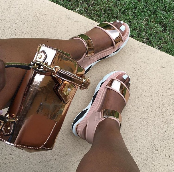 shoes, gold, pink, white, strappy