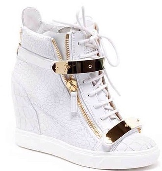 shoes white gold brand leopard pattern sneakers wedge shoes