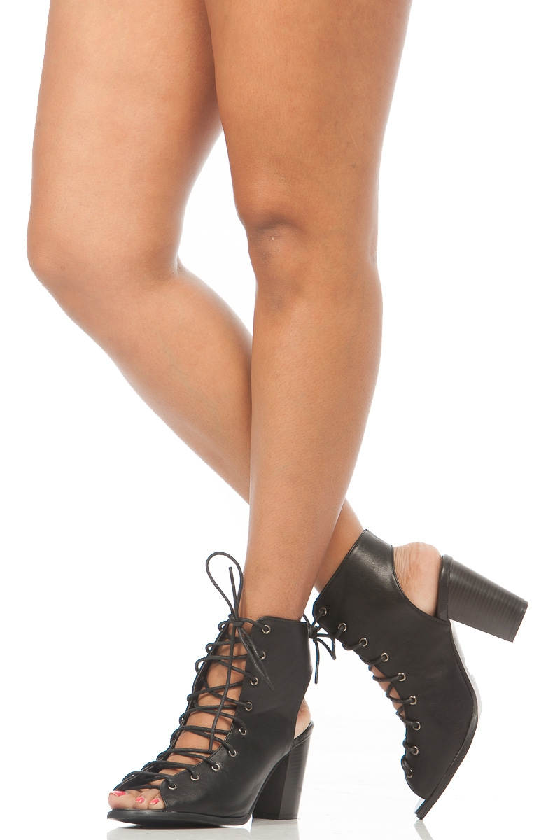 Black faux leather lace up peep toe chunky booties @ cicihot. booties spell style, so if you want to show what you're made of, pick up a pair. have fun experimenting with all we have to offer!
