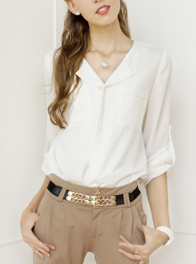 White long sleeve pockets chiffon blouse