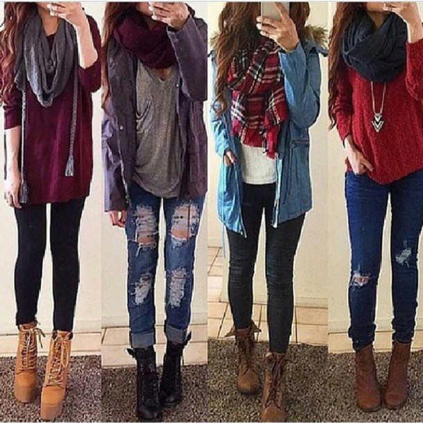 jeans scarf red blue black shoes boots brown boots jacket