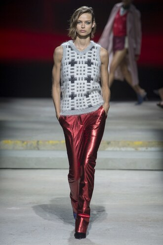 sweater vest pants metallic runway topshop unique london fashion week 2017