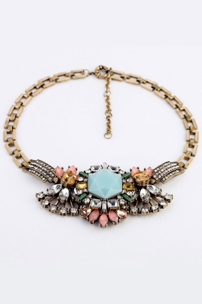 Distinctive Faux Stone Bib Necklace - OASAP.com