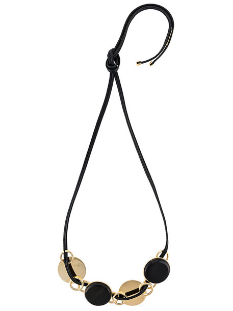 MARNI metal women necklace leather black jewels