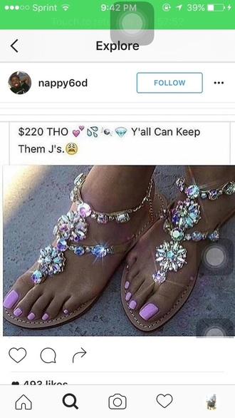 shoes flats flat sandals sandals crystal cute girly gladiators