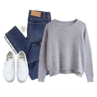 sweater jeans white vans