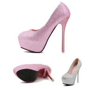 Women's Bridal Round Toe Platform Stiletto High Heel Pump Party Club Shoes 6 7 8