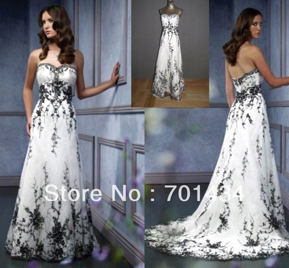 Unique Black Lace Wedding Dress Sweetheart Sheath Tulle Beading Long ...