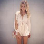 blouse,girl,love,beige playsuit,romper,clothes,beige