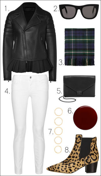 le fashion image blogger black jacket white jeans tartan scarf chelsea boots animal print winter swag jacket sunglasses scarf jeans bag jewels