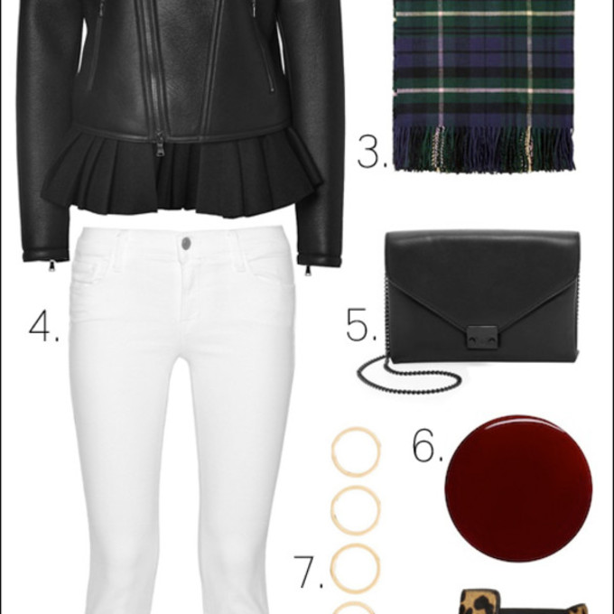 jewels scarf jacket jeans sunglasses red lime sunday bag blogger tartan scarf winter swag le fashion image black jacket white jeans chelsea boots animal print scarf red