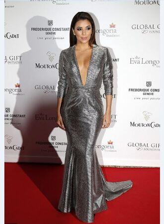 dress silver eva longoria cannes prom dress gown red carpet dress plunge v neck